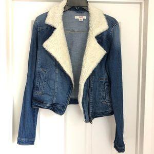 Mossimo denim moto faux shearling jacket